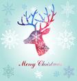Christmas reindeer silhouette portrait vector