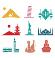 Famous monuments travel icons vector