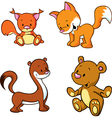 Fox bear weasel and squirrel - cute animals vector