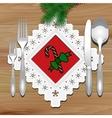 Christmas napkin table vector