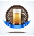 Label beer barrel keg with beer glass and ribbon vector