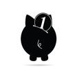 Piggy bank black vector