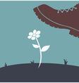 Foot over flower vector