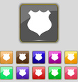 Shield icon sign set with eleven colored buttons vector