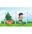 A girl playing with her dog near the windmills vector