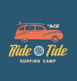 Surfing woodie car retro style label or logo vector