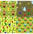 Set of four seamless patterns for easter vector