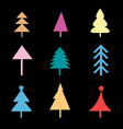 Set of different christmas trees signs vector
