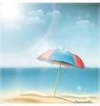 Summer day on ocean beach with umbrella vector
