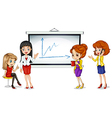 Girls near the bulletin board vector