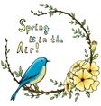 Vintage background with cartoon flower wreath vector