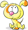 Cute yellow dog sitting isolated on white vector
