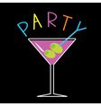 Violet cocktail in martini glass word party card vector