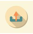 Flat circle web icon unloading vector
