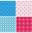 Four blue and red abstract geometric patterns and vector