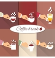Business hands offering hot coffee drinks vector