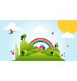 Happy spring time landscape background vector