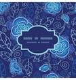 Blue night flowers frame seamless pattern vector