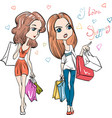 Cute fashion girls with shopping vector