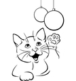 Cat playing with xmas ball - black outline vector