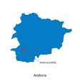 Detailed map of andorra and capital city andorra vector