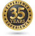 35 years experience gold label vector