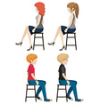 Four faceless people sitting vector