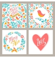 Wedding set of invitation cards with flowers and vector