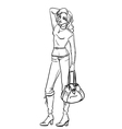 Woman with bag vector