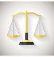 Flat design law symbol justice scales icon on grey vector