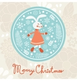 Cute rabbit girl christmas card vector