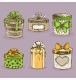 Collection of gift present boxes with bows vector