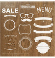 Set of vintage badges with wood background vector