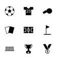 Black soccer icon set vector