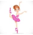 Ballerina girl in pink dress dancing on one leg vector