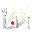 Plate fork knife with japan flag vector