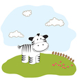 Cute baby shower card with zebra vector