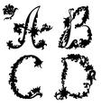 Silhouette letter a b c d vector