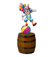 A clown above the barrel vector