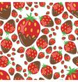 Strawberry in chocolate seamless pattern vector