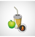 Sketch paper cup with straw and apple vector