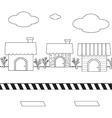 Linear cute cartoon homes on street1 01 vector