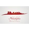 Philadelphia skyline in red vector