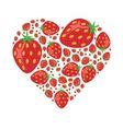 Strawberries in heart vector