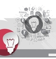 Paper and hand drawn lightbulb emblem with icons vector