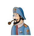 Pirate captain with beard and pipe isolated on vector