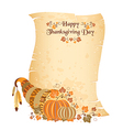 Thanksgiving day scroll with harvest cornucopia vector
