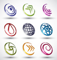Abstract contemporary style icons 3 vector