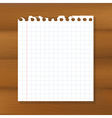 Sheet of paper on wooden background vector