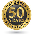 50 years valuable experience gold label vector